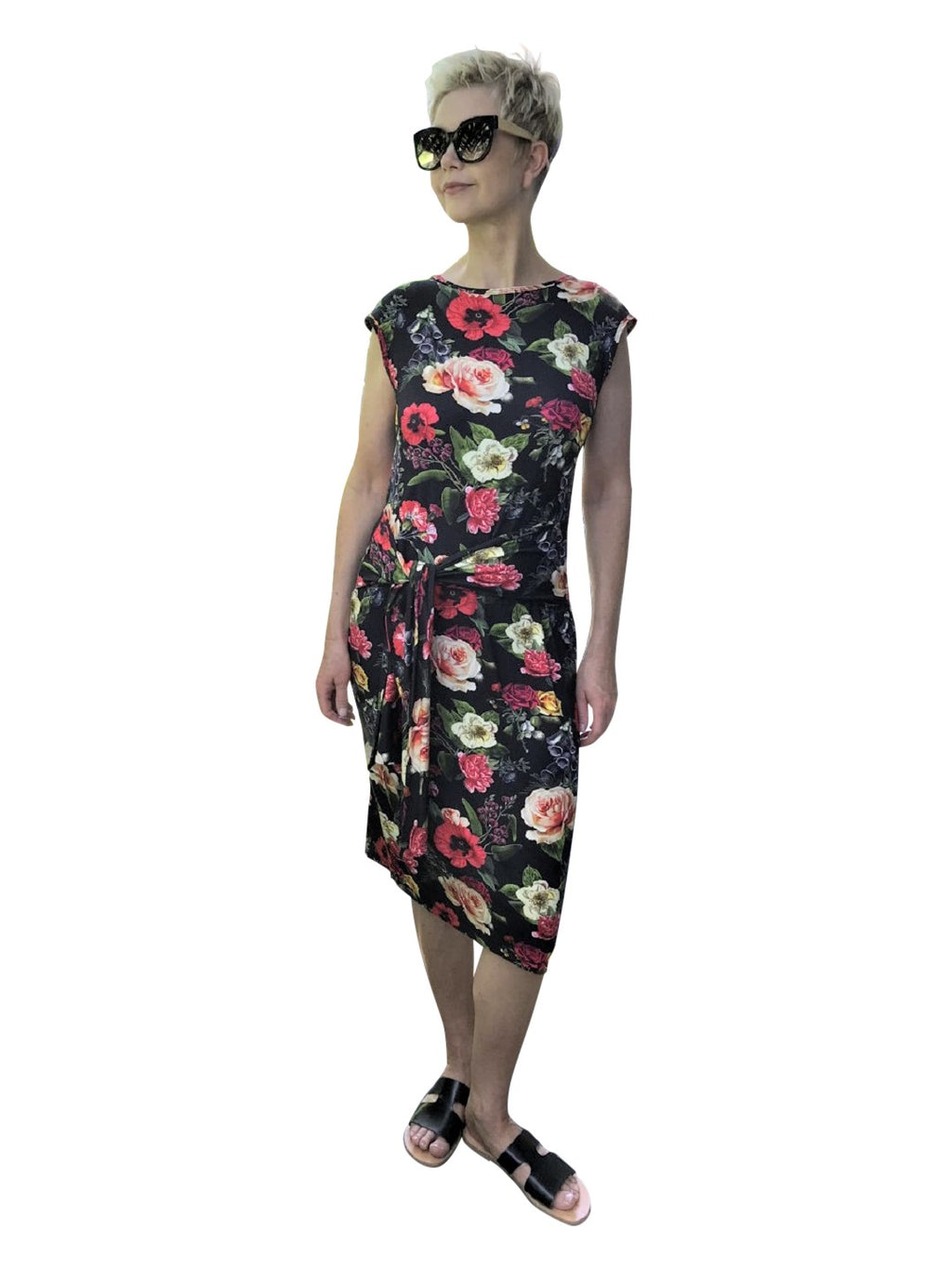 Bamboo Dress with Front Tie / FLORAL DIGITAL DESIGN