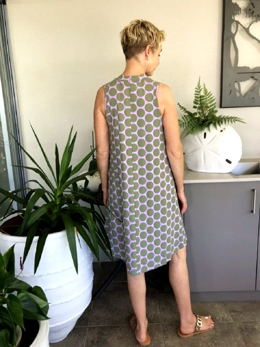 Bamboo Keyhole Dress / MUSK WITH SAGE SPOTS