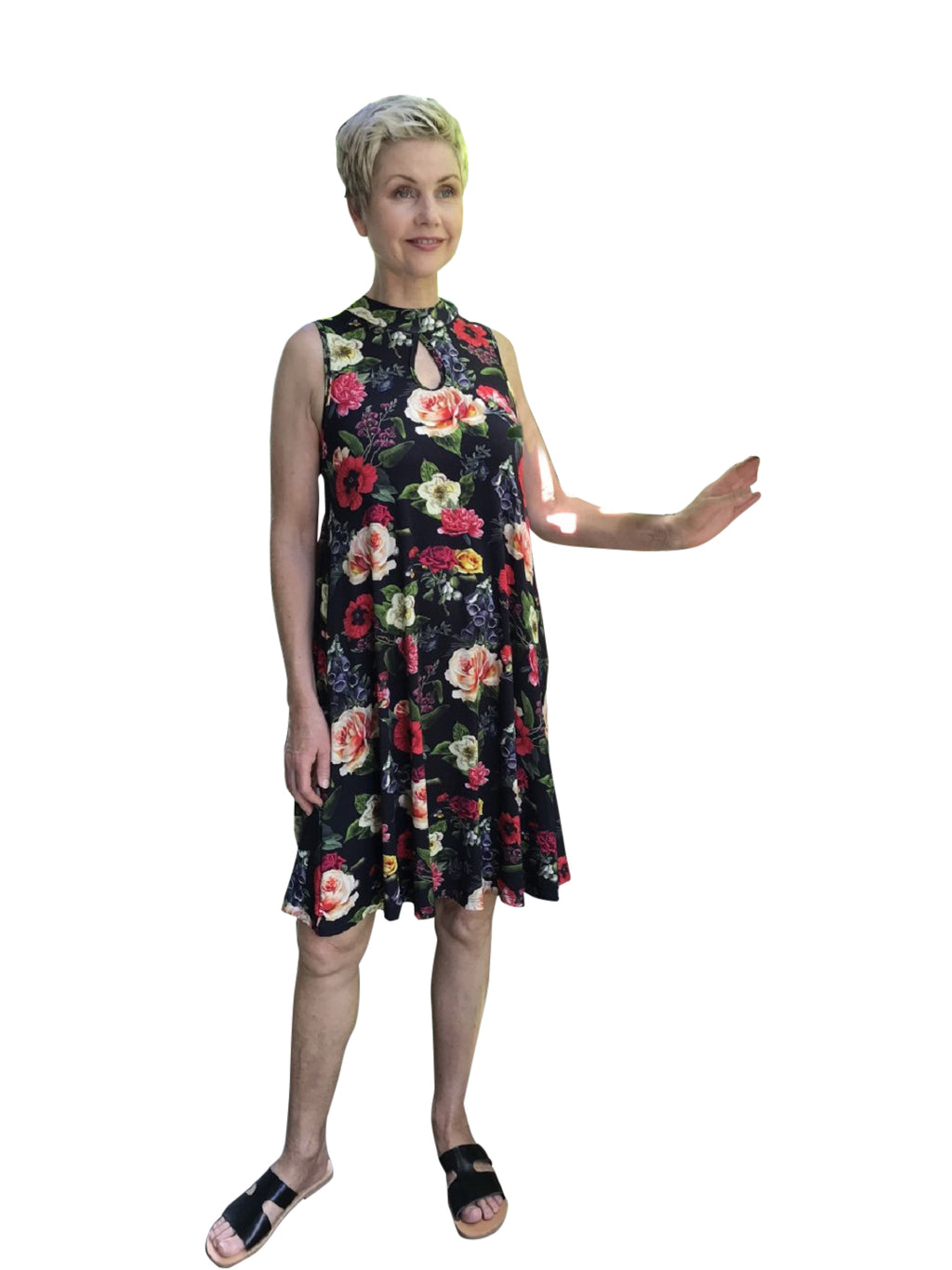 Bamboo Keyhole Dress / FLORAL DIGITAL PRINT