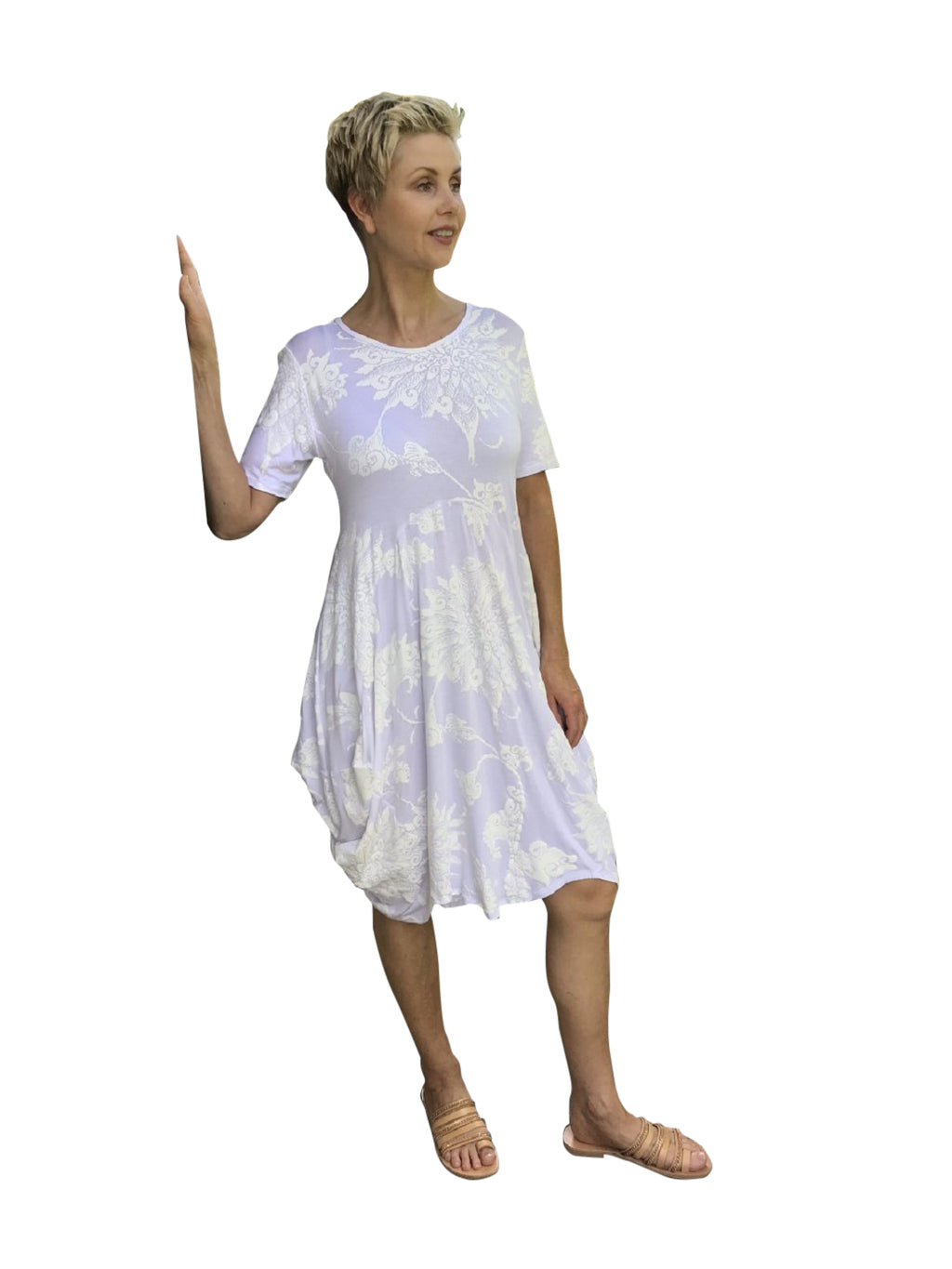 Bamboo F Dress / WHITE WITH WHITE MOONFLOWER