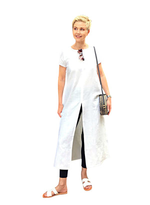 Linen Dress with Split / WHITE