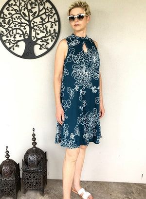 Bamboo Keyhole Dress / PETROL & WHITE NEW FLORAL