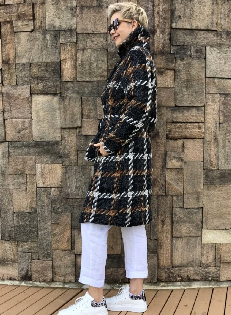 Wool Full-Length Jacket / EARTHY CHECK with CHAMPAGNE LINING