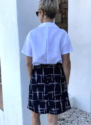 Wool Skirt / BLACK & WHITE with SILK LINING