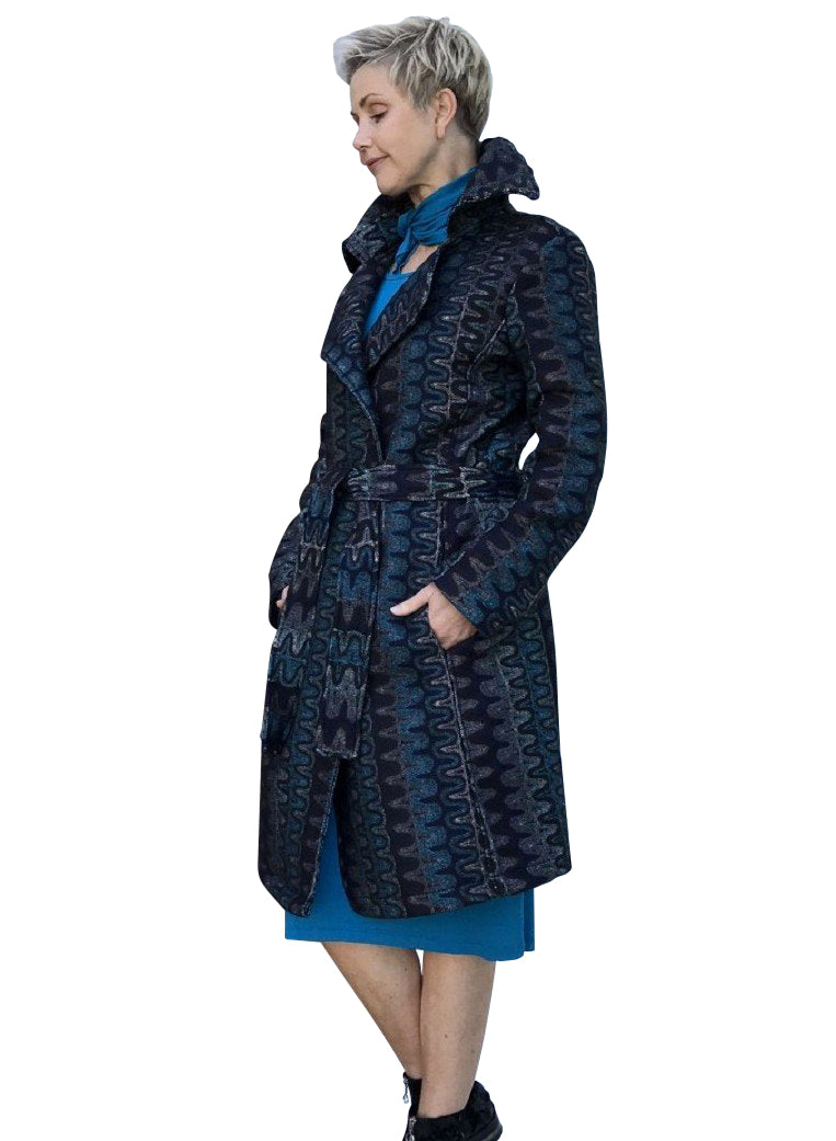 Wool Full-Length Jacket / OCEAN BLUE SWIRLS with MIST SILK LINING