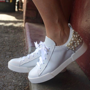 Pearl Leather Sneakers / White