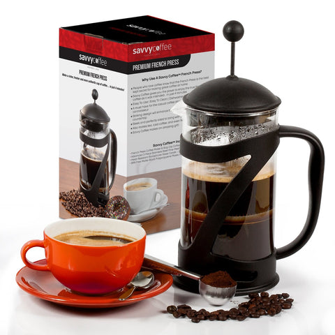Savvy Coffee French Press Coffee Maker and Scoop | One Savvy Life