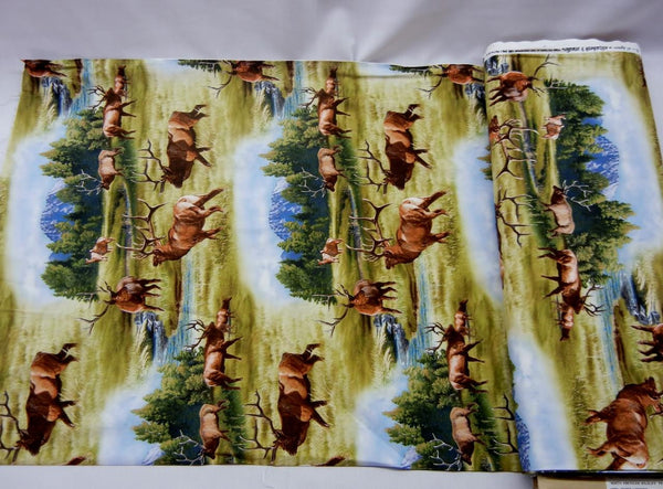 Up the Lake Cotton Fabric - Elk Print - Up the Lake Trading Company  - 2
