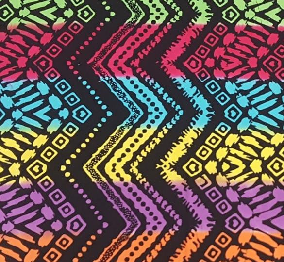 Aztec Rainbow Zigzag Pattern Fabric w Black