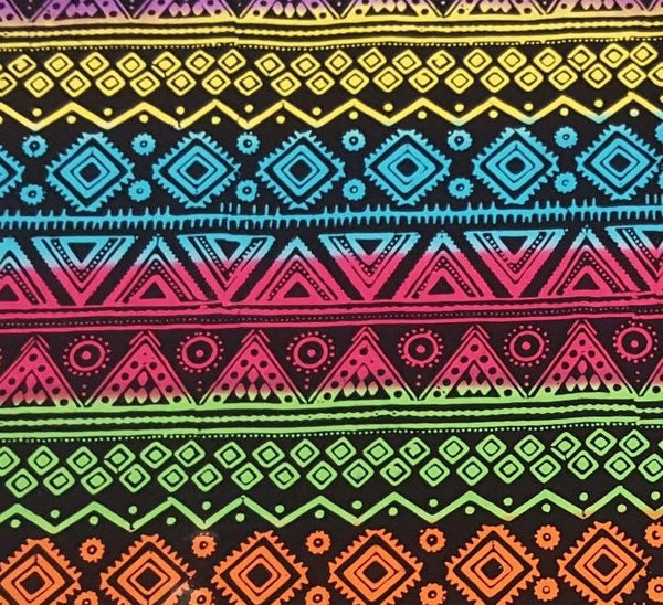 Aztec Striped Pattern in Fluorescent Rainbow and Black
