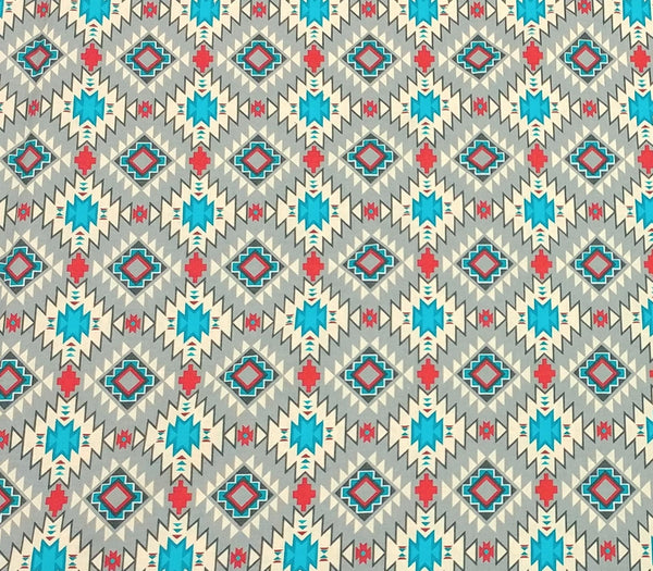 Native Argyle Cotton Fabric in Grey and Multicolor