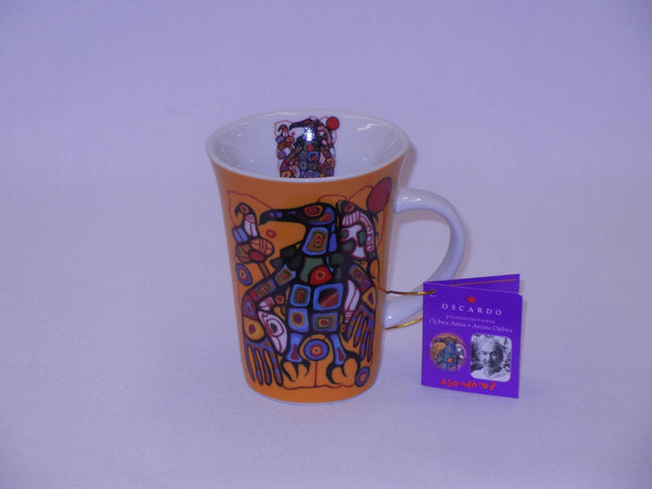 Norval Morrisseau Porcelain Coffee Mug - Man Chanes into Thunderbird - Up the Lake Trading Company  - 1
