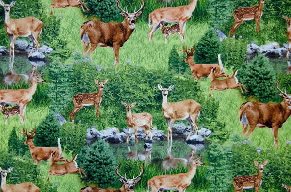 Up the Lake Cotton Fabric - Deer Print - Up the Lake Trading Company  - 1
