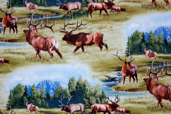 Up the Lake Cotton Fabric - Elk Print - Up the Lake Trading Company  - 1