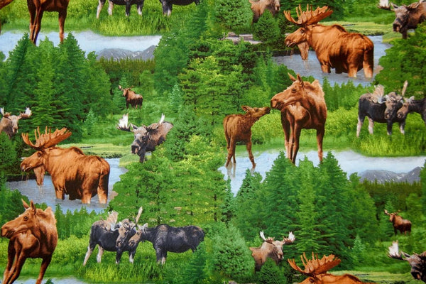 Up the Lake Cotton Fabric - Moose Print - Up the Lake Trading Company  - 1