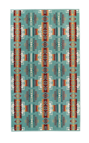Pendleton Jacquard Towel - Chief Joseph (Aqua) - Up the Lake Trading Company