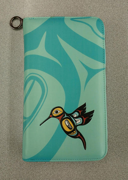 Hummingbird Travel Wallet in Turquoise