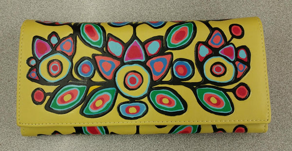 Floral on Yellow by Norval Morrisseau Wallet