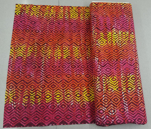 Diamond Pattern Fabric - Plains Sunset (pink, orange and yellow)