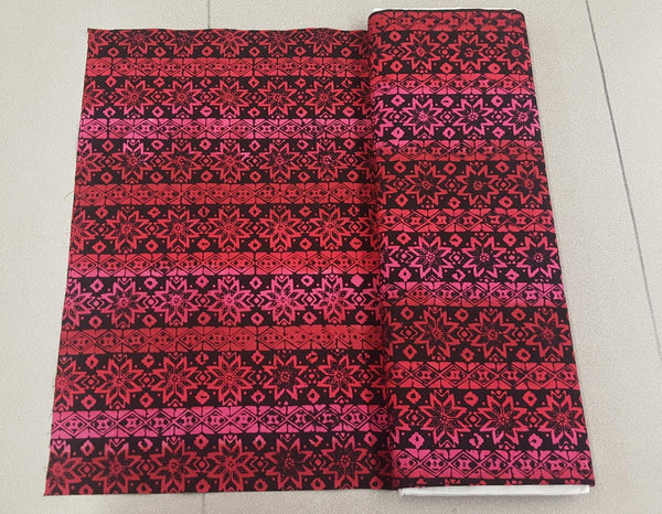 Aztec Flower Print Fabric in Pink and Red