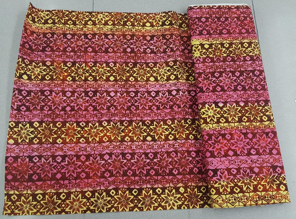 Aztec Flower Print Fabric in Plains Sunset