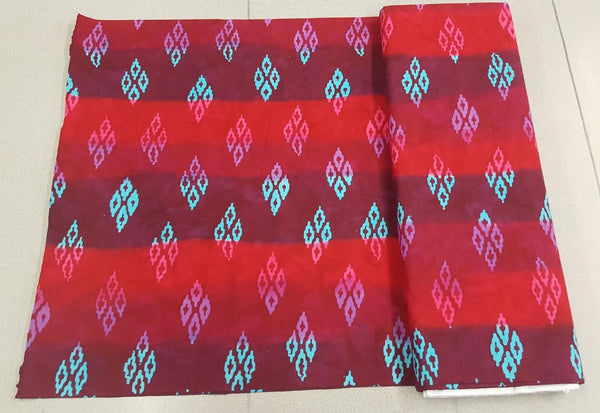 Diamond Wave Pattern in Ruby and Turquoise