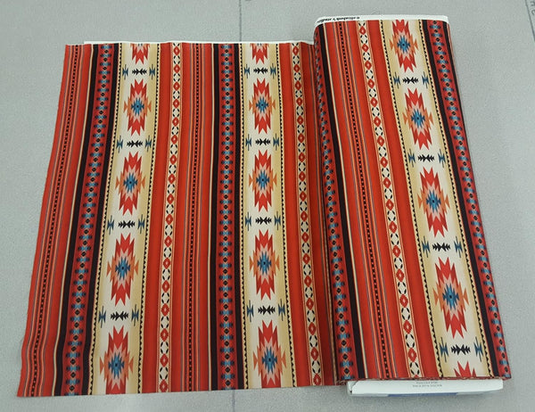 Navajo Ganado Print Fabric in Red