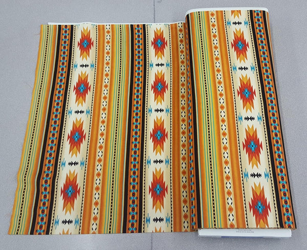 Navajo Ganado Print Fabric in Gold / Orange