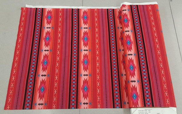 Navajo Ganado Print Fabric in Bright Pink