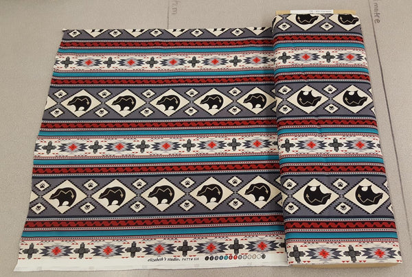 Navajo Ganado Bear Print in Red, Turquoise and Grey