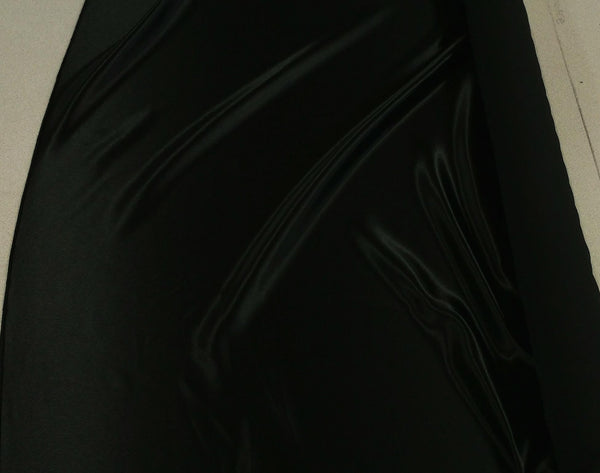 Satin Fabric (Crepe Back) - Black