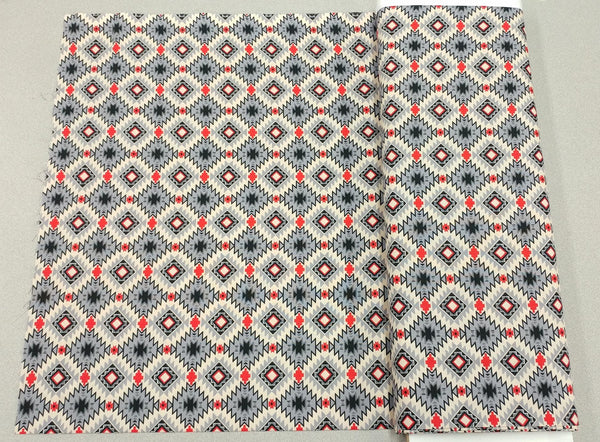Native Argyle Cotton Fabric in Grey, Cream and Red