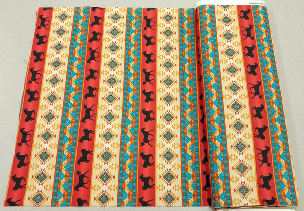 Spirit of the West Cotton Fabric in Tan, Red and Turquoise