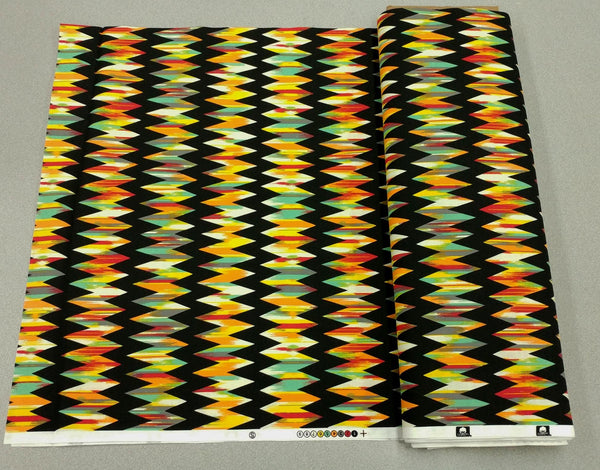 Striped Zig-zag Aztec Cotton Printed Fabric in Bright Multicolor