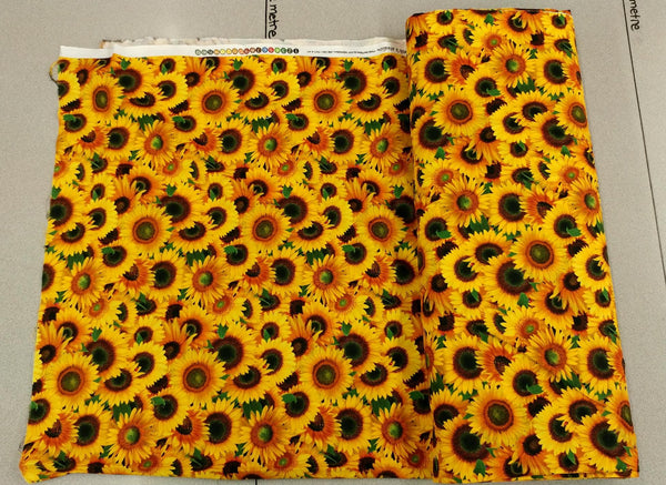 Sunflower Print Cotton Fabric w/ Ladybugs