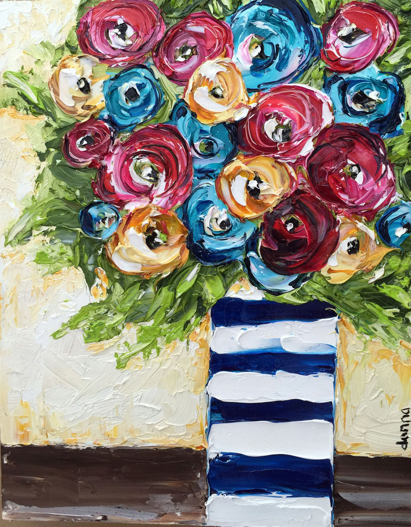 """Flowers and Stripes"" - Donna Downey Studios Inc"