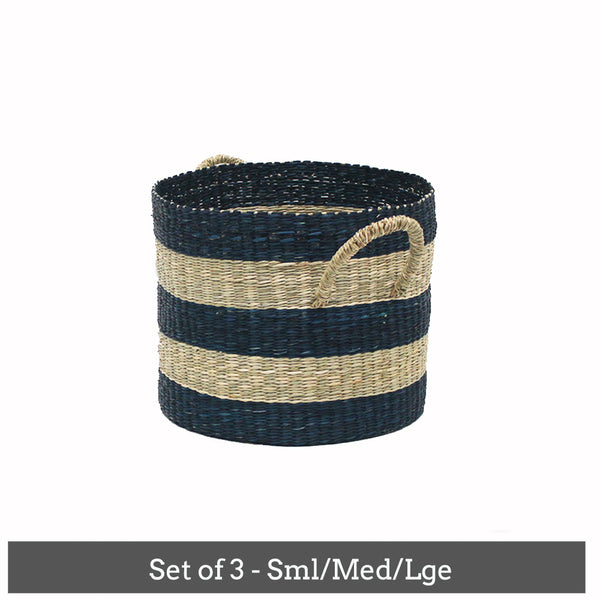 Mega Stripe Baskets -Set of 3 Blue