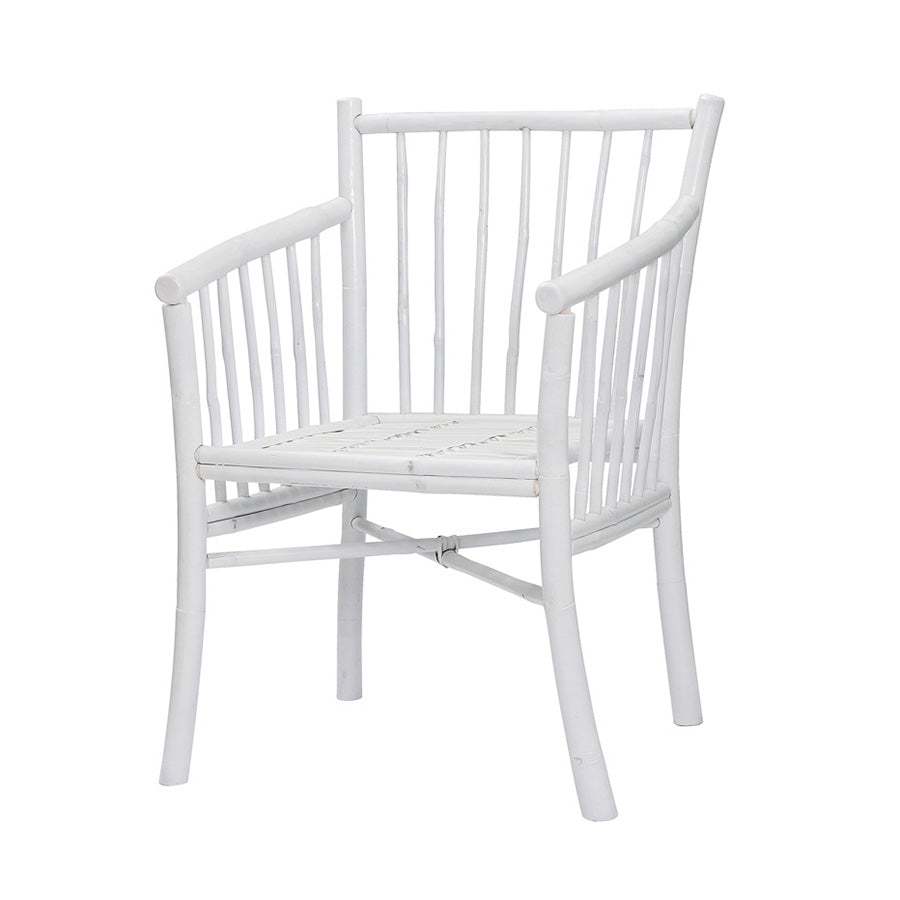 Bamboo Carver Dining Chair White  EX DISPLAY