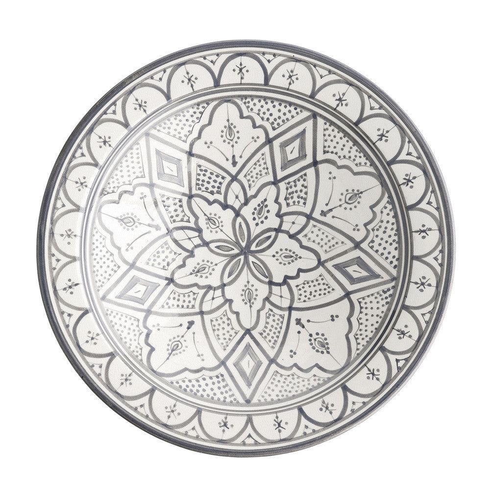 Hand Painted Moroccan Ceramic Platter Grey 40cm