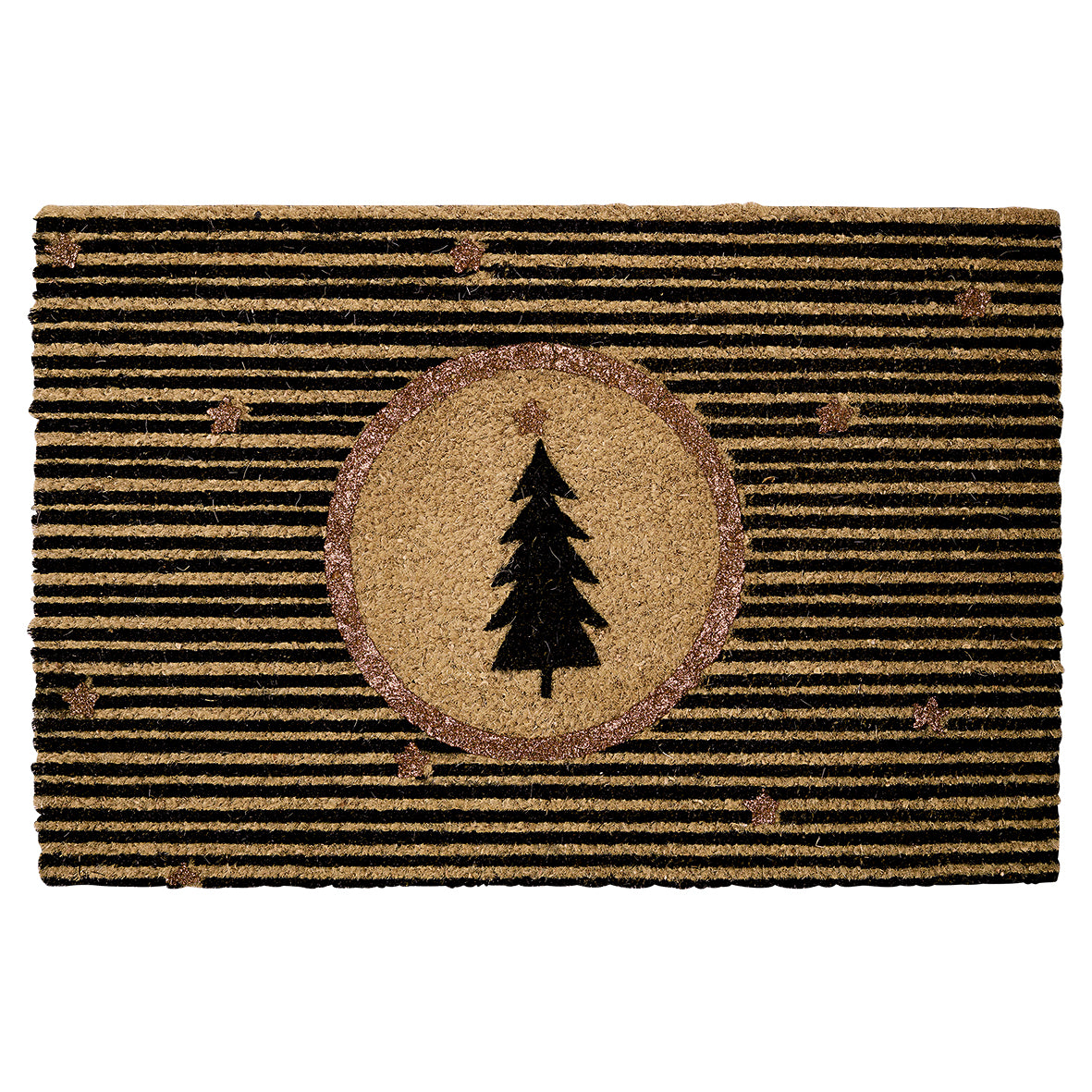 Doormat - Gold with Christmas tree
