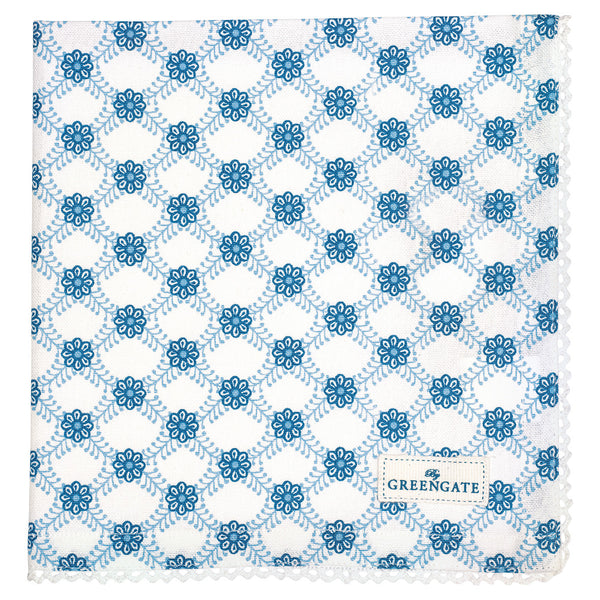 Cotton Napkins with Lace - Lolly Blue