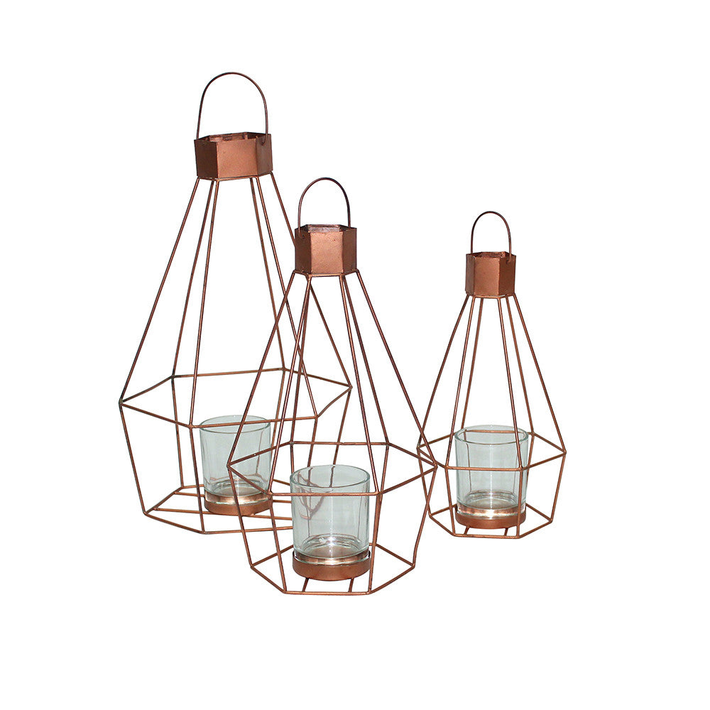 Copper Geo Hanging Lantern