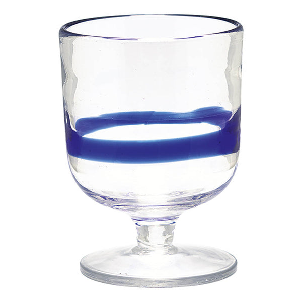 Glass Wine with Stripe - Blue set of 6