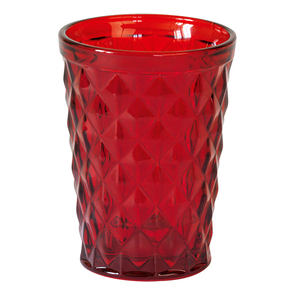 Drinking Glass / Candle Holder Diamond Red  Set of 2