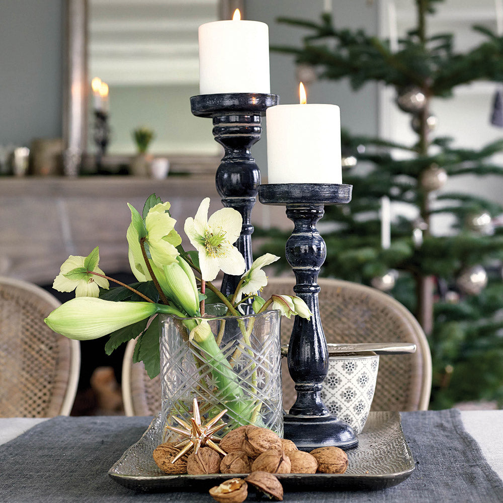 Wooden Candle Holder - Isolde Dark Grey