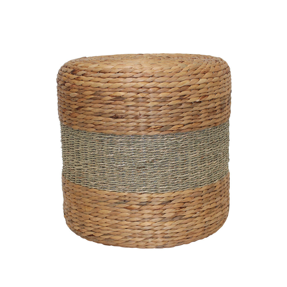 Drum Footstool with Khaki stripe 38cm
