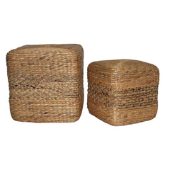 Cube Footstool - W/Coffee Stripe
