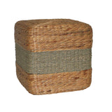 Cube Footstool with Khaki band