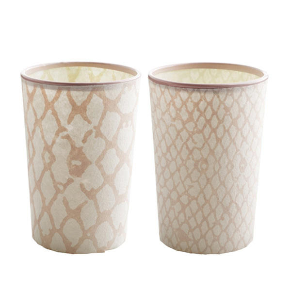 Snake Print Tealight Holder Pair - Rose