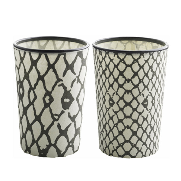 Snake Print Tealight Holder Pair - Smoke